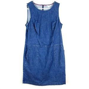 BODEN Jean Sleeveless Dress Pockets Denim 10r